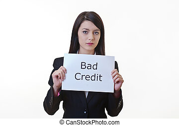 beat the money problem - woman holding up a piece of paper...
