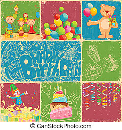 Birthday Collage - illustration of birthday collage in retro...