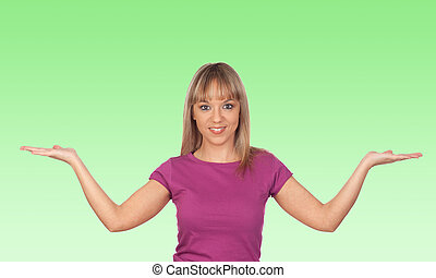 Attractive girl with the arms extended isolated on green...