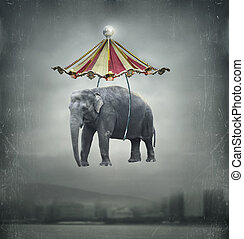 Fantasy elephant - Fantasy image that represent a flying...