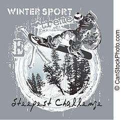 Snowboard over the cliff - illustration for shirt printed...