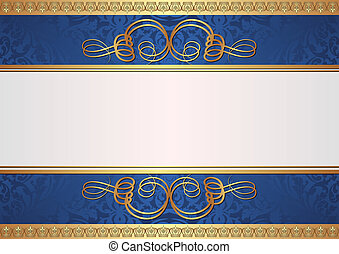 gold and blue background with ornaments