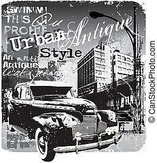 antique car urban style - illustration for shirt printed and...