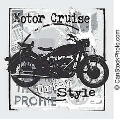 motorcycle urban style - illustration for shirt printed and...