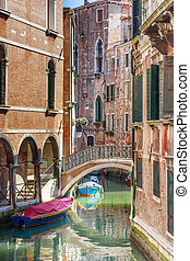 Romantic canal and bridge in center of Venice, Italy (no...