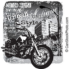motorcruise urban style - illustration for shirt printed and...