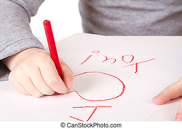 child writting I love you close-up - Child writting I love...
