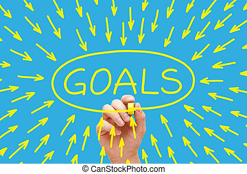 Goals Concept Yellow - Hand drawing Goals concept with...