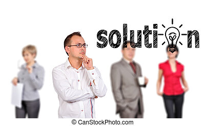 man looking solution - businessman looking solution and...