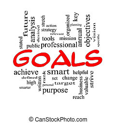 Goals Word Cloud Concept in red and black with great terms...