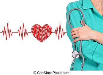 doktor, stetoskop