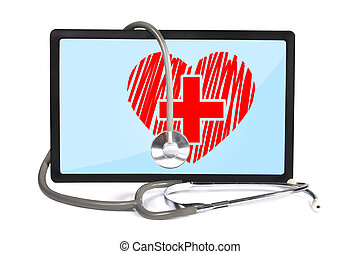 heart on touchpad - heart on screen touchpad and stethoscope...