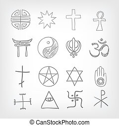 Religious symbolism. Grey Gradient Background. Vector...