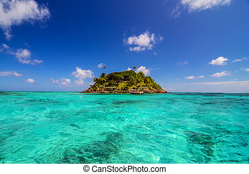 Small Secluded Island - Turquoise water and small Caribbean...