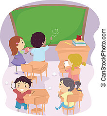 Classroom Disaster - Illustration of School Children Making...