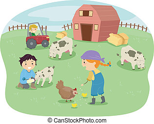 Barn Kids - Illustration of Kids Wearing Farmhand Outfits...