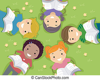 Outdoor Reading Kids - Illustration of Kids Reading Books in...