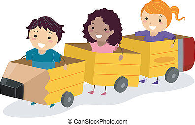 Pencil Cardboard Kids - Illustration of Kids Riding Pencil...