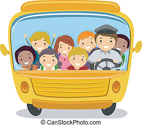 School Bus Kids - Illustration of School Kids Riding a...