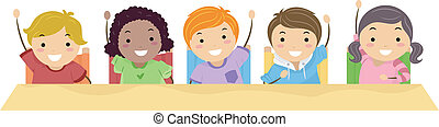 Kids Raising Their Hands - Illustration of School Kids Lined...
