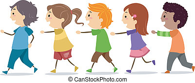 Kids Walking in One Line - Illustration of School Kids...
