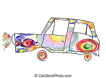 children's drawing of the car - baby drawing of the...