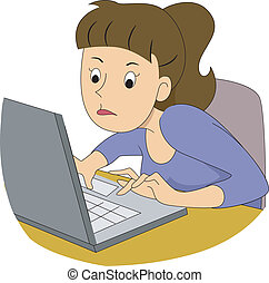 Girl Writer Typing Fast - Illustration of a girl writer...