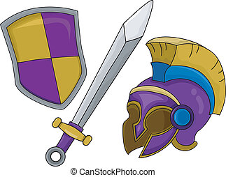 Gladiator Helmet Shield and Sword - Illustration of...