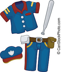 Police Costume - Cartoon Illustration of Police Costume