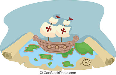 Pirate Ship and Map