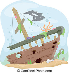 Underwater Shipwreck - Illustration of a Wrecked Ship...