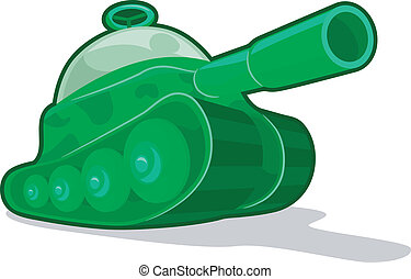Toy Tank - Illustration of a Green Military Toy Tank