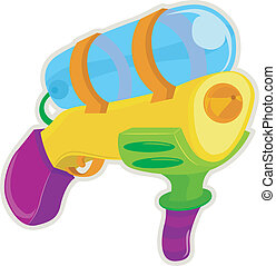 Toy Water Gun - Illustration of a Toy Water Gun