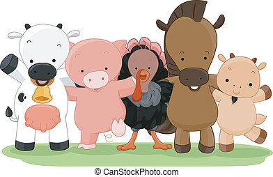 Farm Animals - Cartoon Illustration of Different Farm...