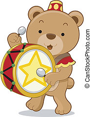 Circus Bear Drummer - Cartoon illustration of a circus bear...