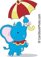 Circus Elephant with Umbrella