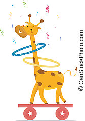 Circus Giraffe playing Hula Hoops - Cartoon illustration of...