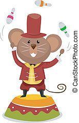 Circus Mouse Juggler - Cartoon Illustration of a Circus...
