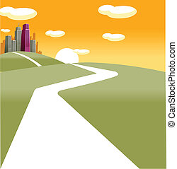 Path towards city - This illustration depicts a young...
