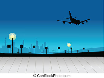 City skyline with airplane