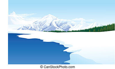 Panoramic view of a landscape - This illustration is a...