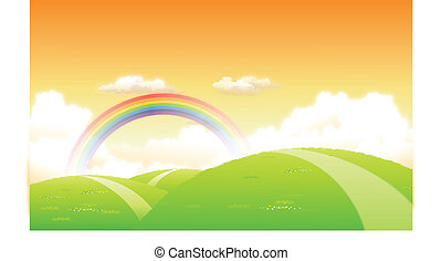 Green landscape with a rainbow in the background