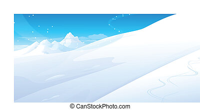 Snowing over snowcapped Mountain - this illustration is the...