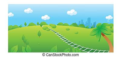 järnväg, spåra, över, grön