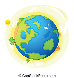 Globe with green landscape - This illustration is a common...