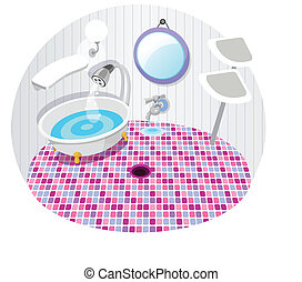 Bathroom with bath tub - This illustration is a common...