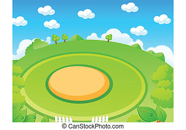 Green landscape and playground - This illustration depicts a...