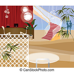 Reception desk at end of corridor - This illustration is a...