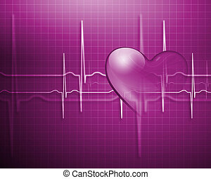 Heart Beat - A medical background with a heart beat / pulse...