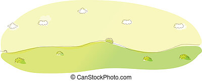 Green mountain and sky - This illustration is a common...